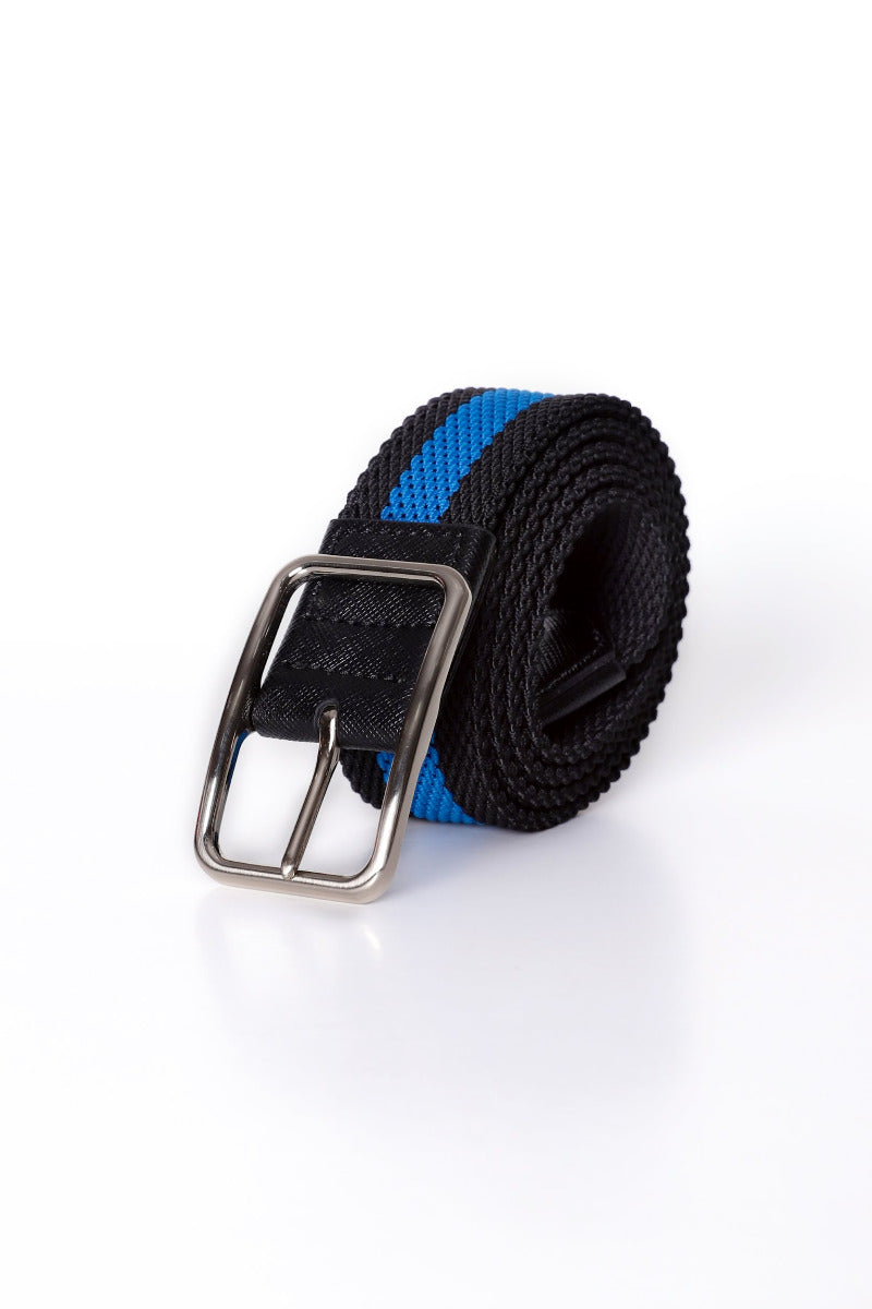 Blue and Black Striped Canvas Belt