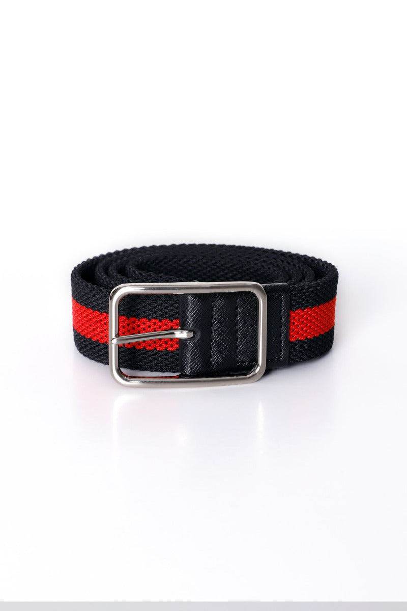 Striped Red Canvas Belt