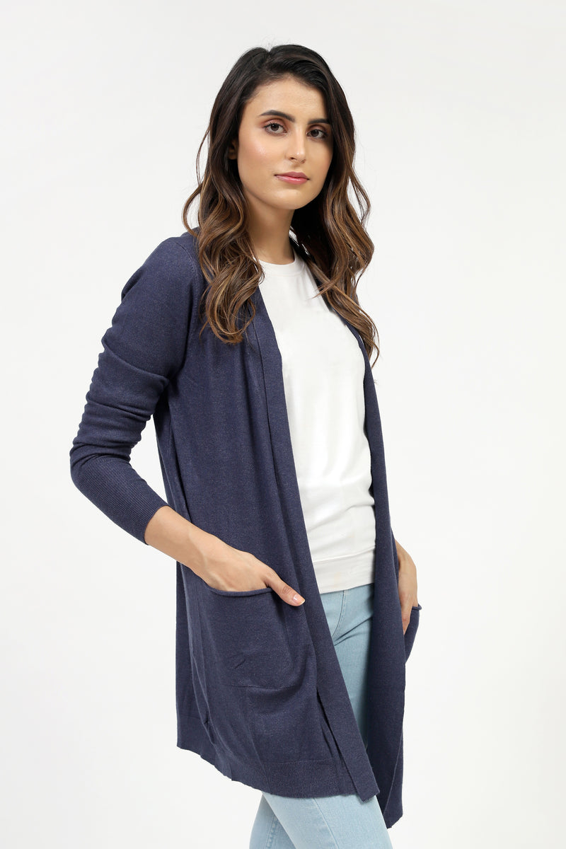 Long Navy Cardigan With Pockets