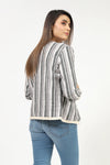 Striped Jacquard Jacket With Frilled Lace