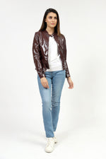 Patent Faux Leather Jacket With Ban