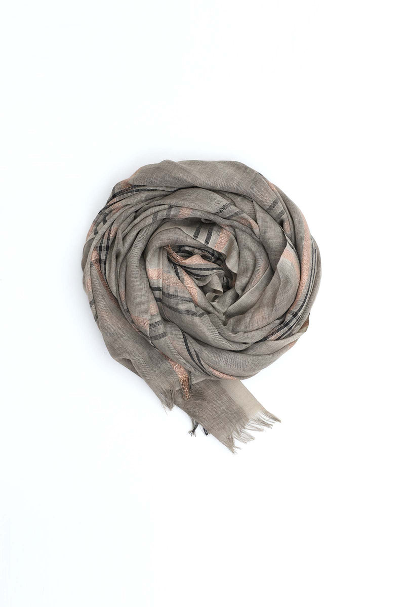 Patterned Grey & Brown Scarf