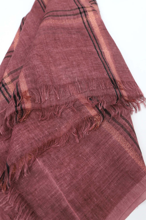 Patterned Rose Wood Purple Scarf