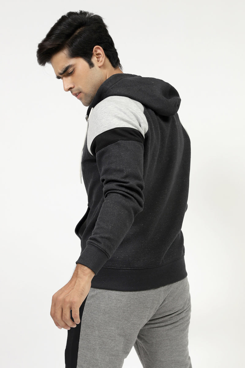 Charcoal Zipped Hoodie With Shoulder Patch