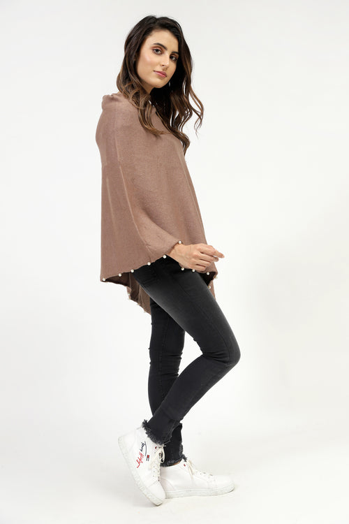 Brown Solid Poncho With Pearls