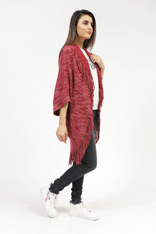 Shaded Cape Shawl With Tassels