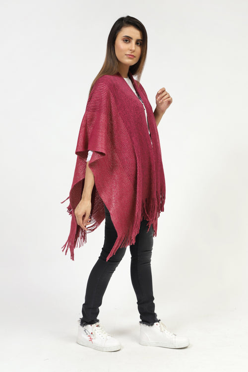 Long Cape Shawl With Shiny Texture