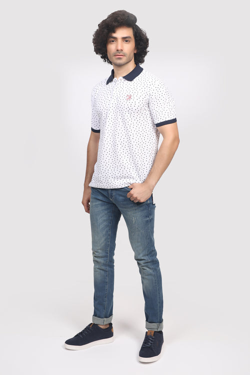 All-Over Printed White Polo