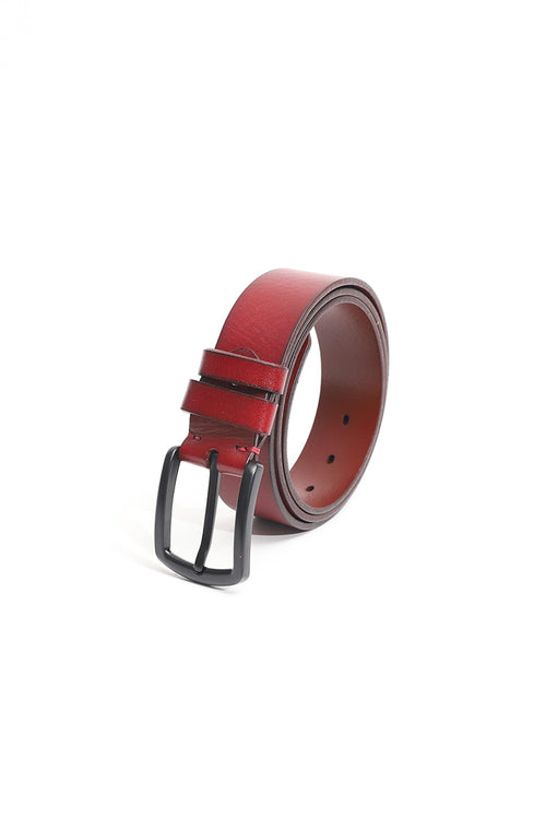 Maroon Leather Belt With Black Buckle