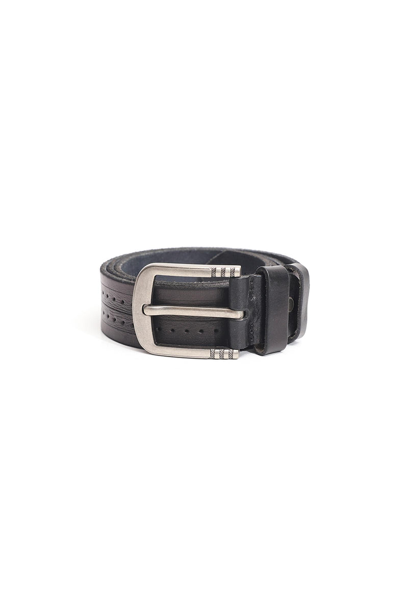 Black Dotted Leather Belt