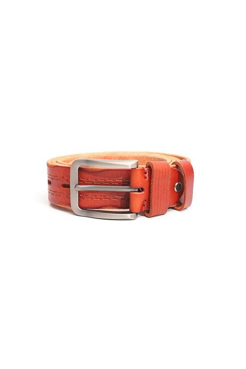 Rustic Patterned Leather Belt
