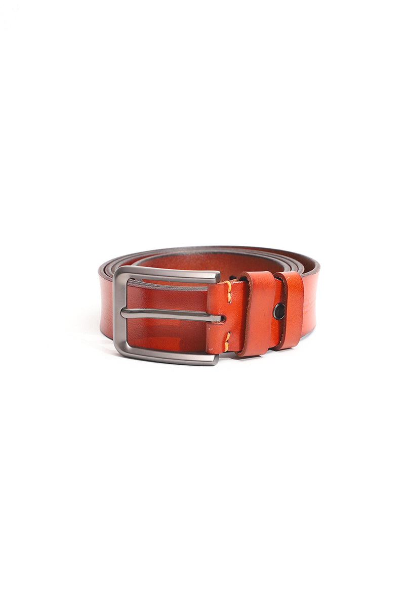 Rustic Leather Belt With Polished Buckle