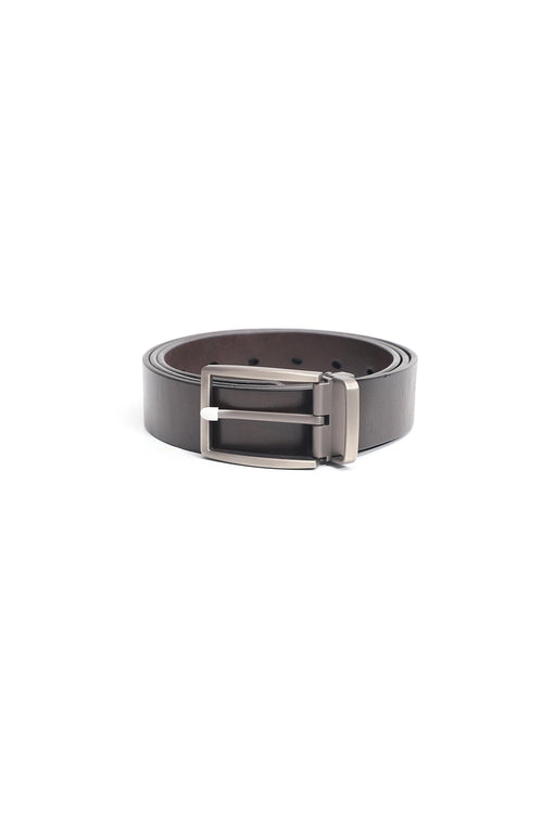 Dark Chocolate Leather Belt With Rectangular Buckle