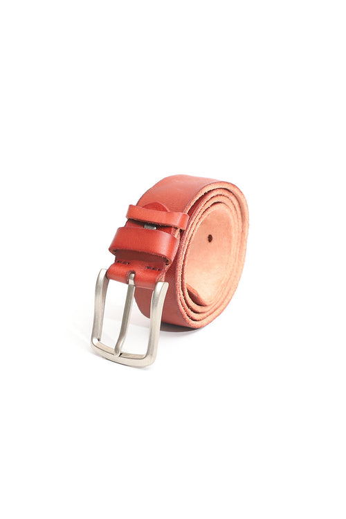 Red Leather Belt With Silver Buckle