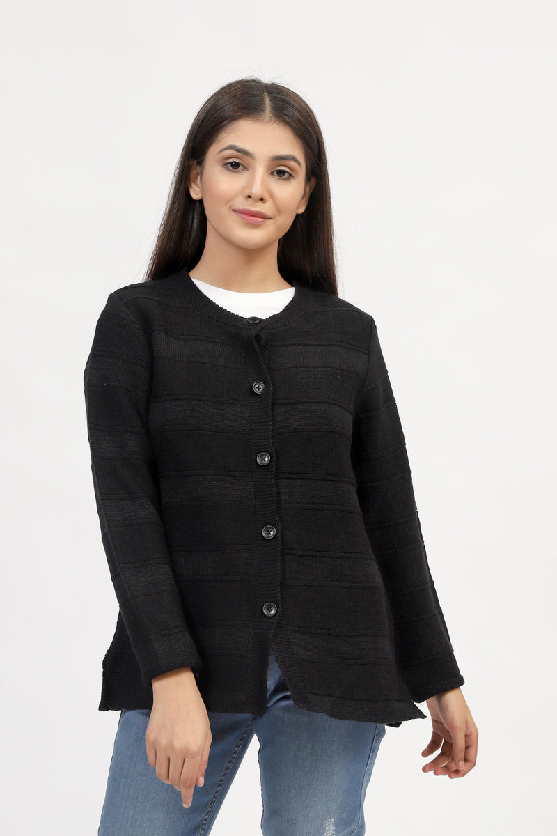 Black Cardigan With Textured Stripes