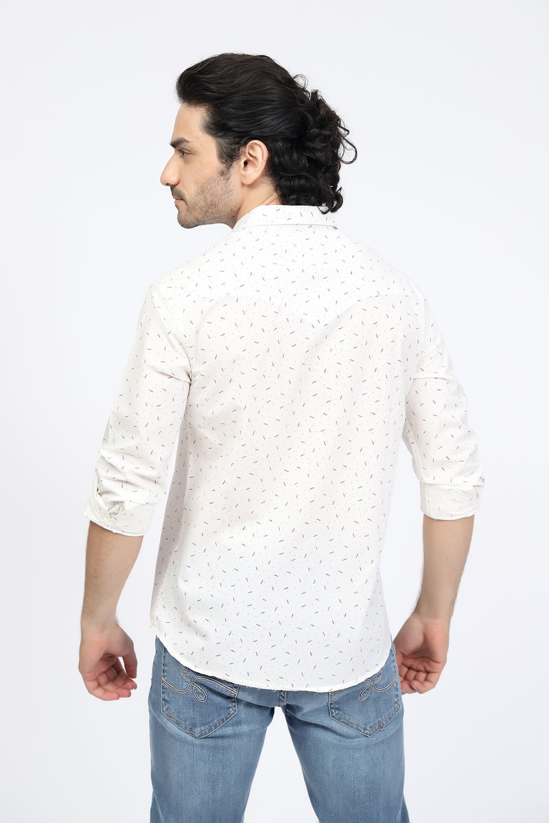 Textured White Casual Shirt