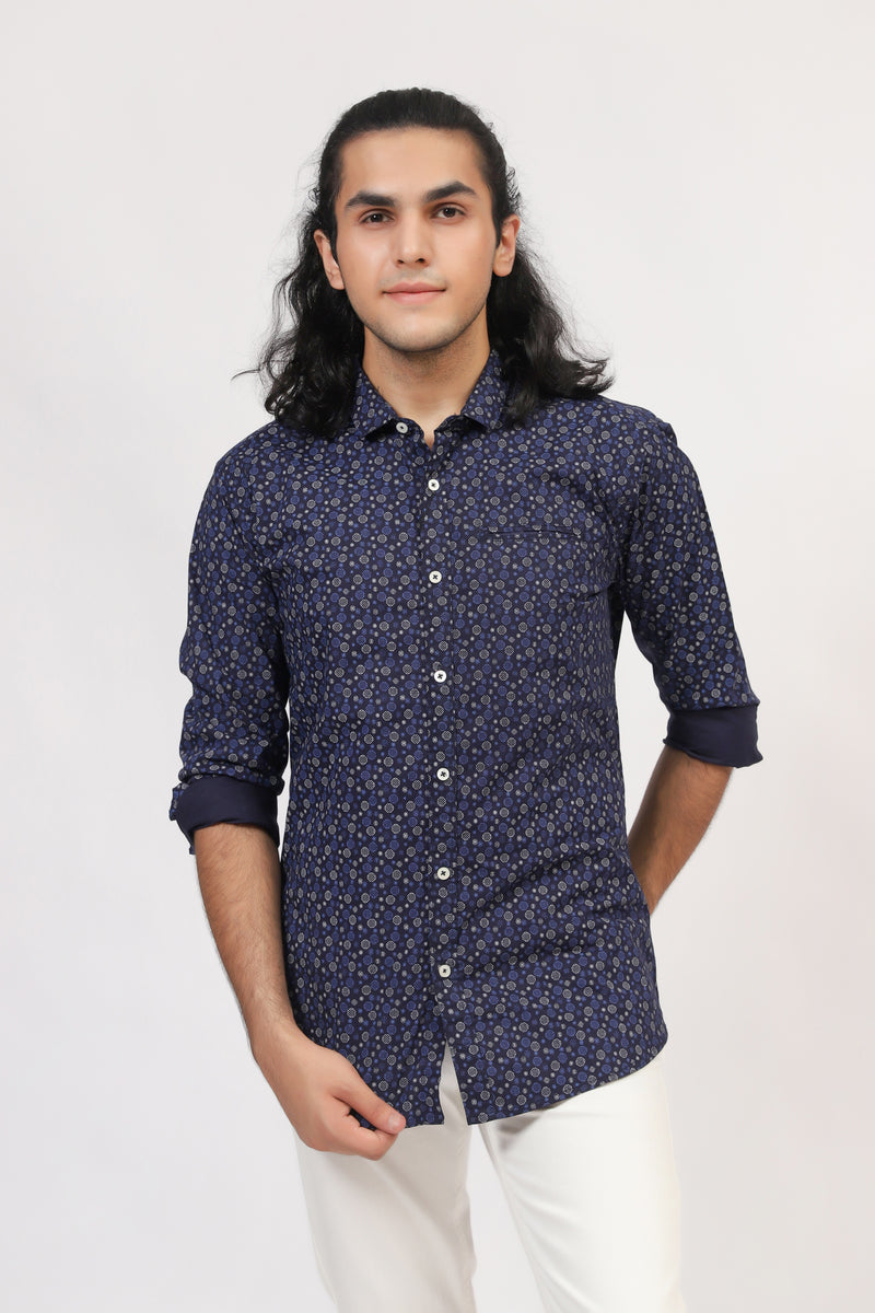 All-Over Printed Blue Shirt