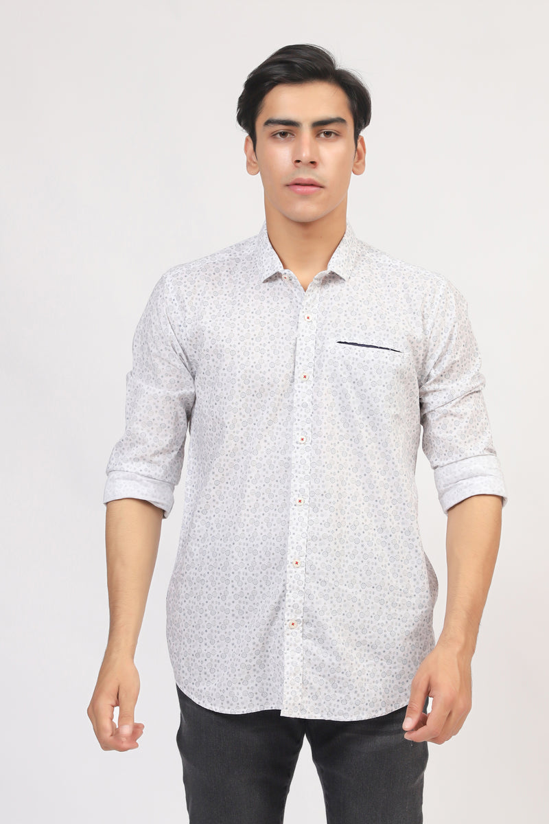 All-Over Printed White Shirt