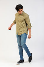 Olive Casual Shirt With Ban