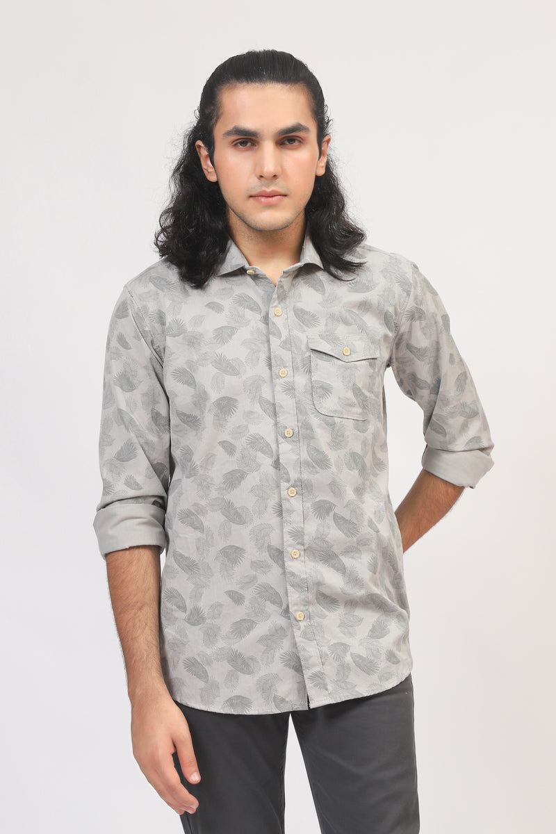 All-Over Printed Grey Shirt