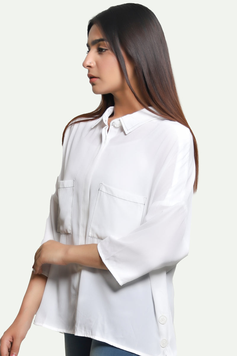 Two Pocket White Top