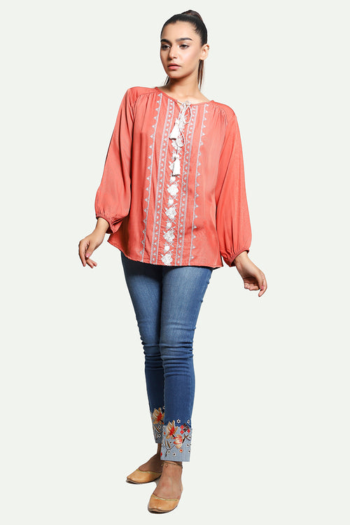 Rusty Peach Embroidered Top
