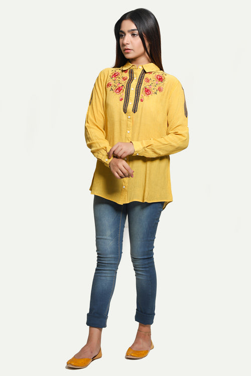 Embroidered Mustard Shirt