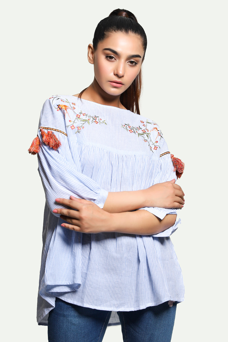 Sky Blue Lining Embroidered Top