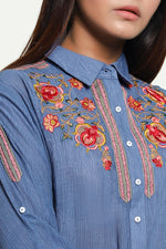 Embroidered Navy Blue Shirt
