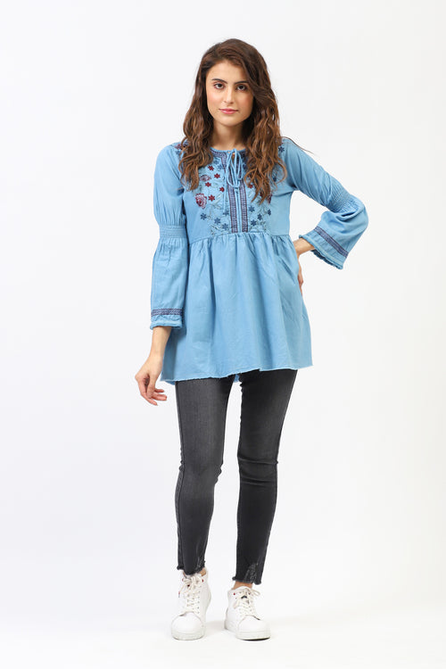 Over Dyed Denim Embroidered Top