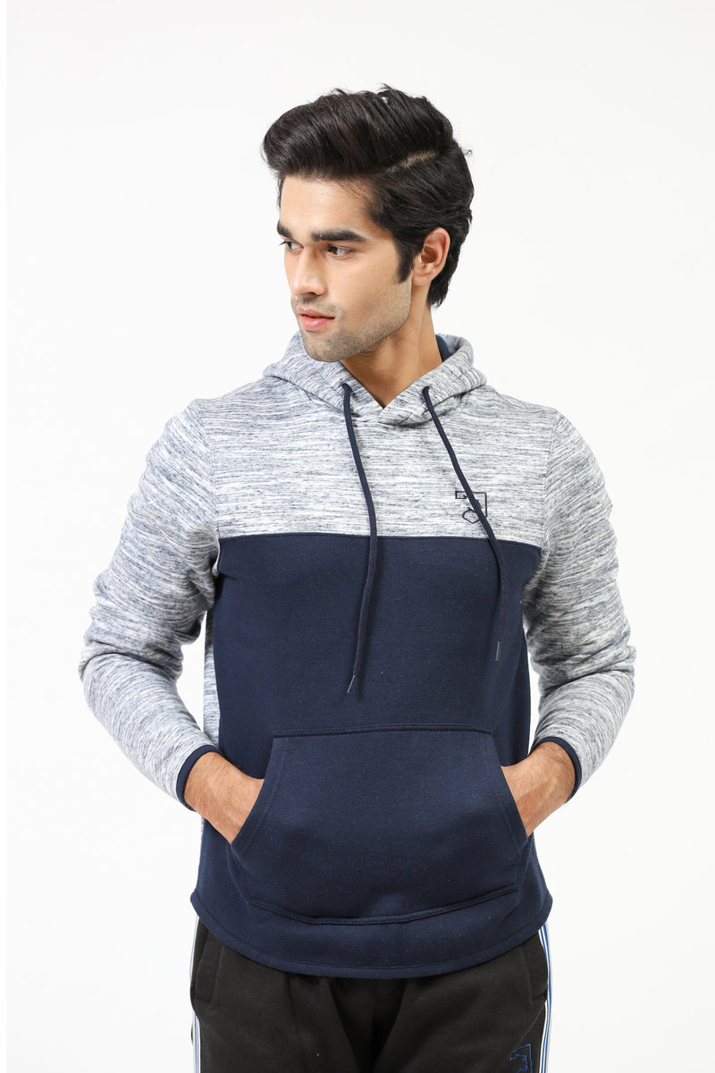 Melange Hoodie With Solid Front Panel