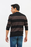 Melange Striped Round Neck Sweater