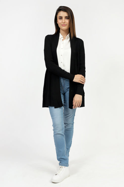 Black Front Open Sweater