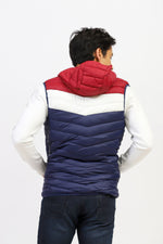 Tri-Color Sleeveless Puffer Jacket