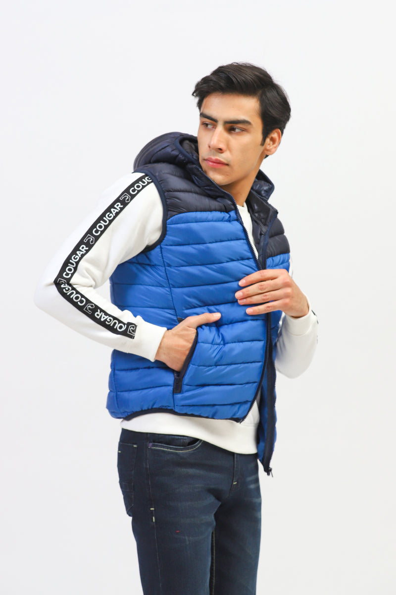 Two Color Sleeveless Puffer Jacket