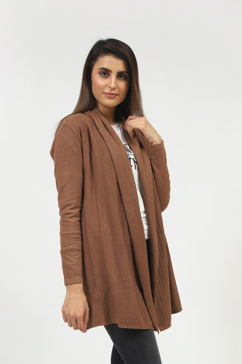 Brown Front Open Sweater With Textured Rib