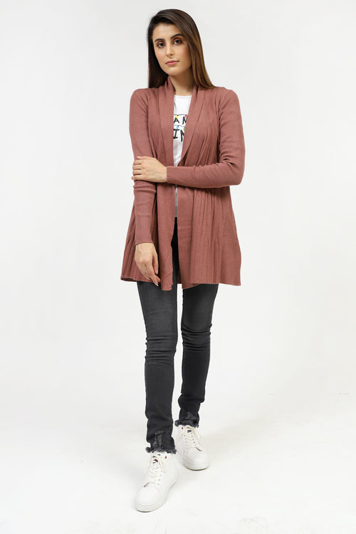 Textured Knit Brown Sweater