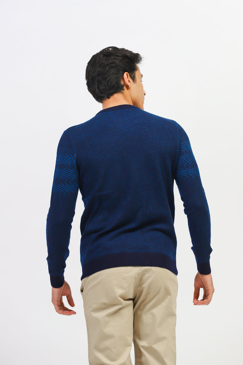 Blue Sweater With Wave Pattern