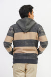 Front Zip Cardigan With Melange Stripes