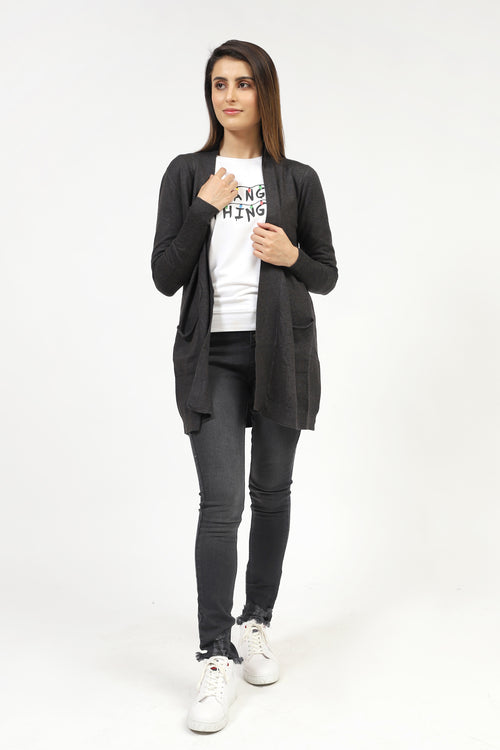 Charcoal Melange Basic Sweater With Pockets