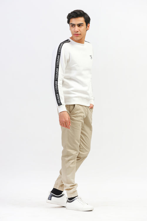 White Sweatshirt With Logo Stripes