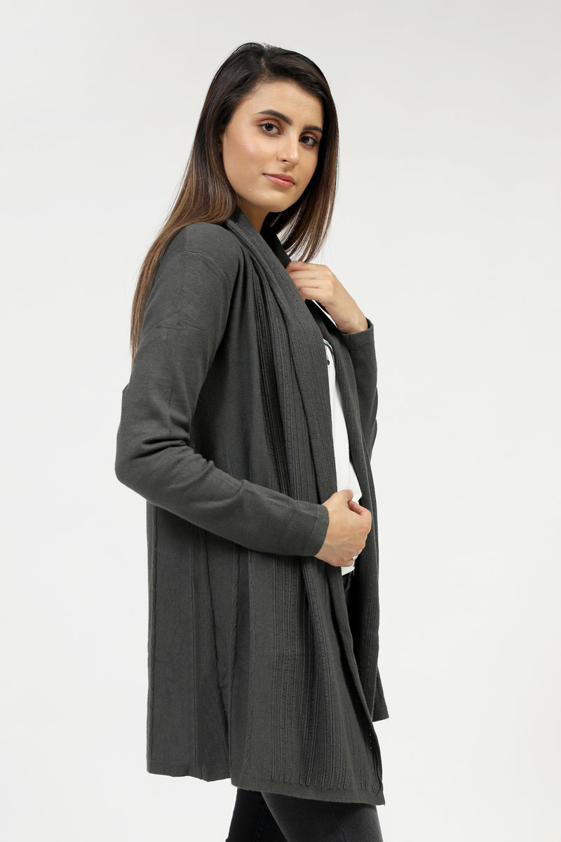 Charcoal Grey Front Open Sweater With Textured Rib