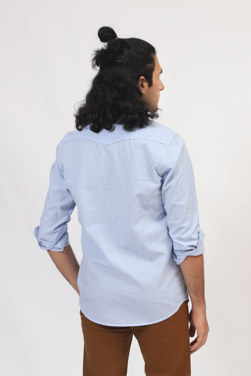 Blue Horizontal Lining Casual Shirt