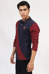 Navy & Maroon Diagonal Polo