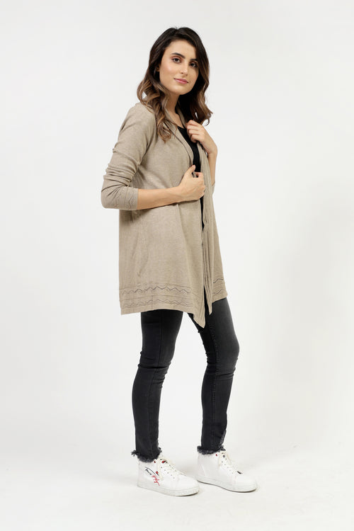 Skin Front Open Sweater With Cable Border