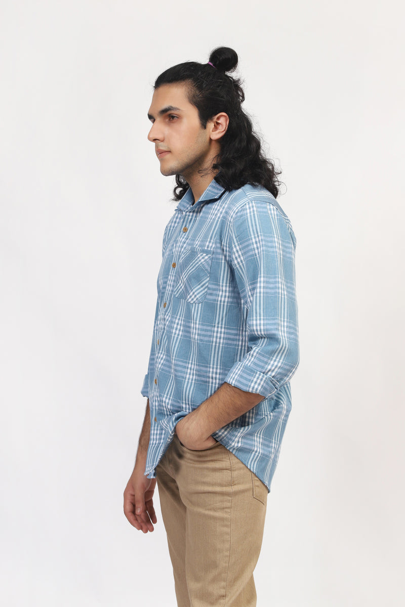 Light blue Checkered Casual Shirt