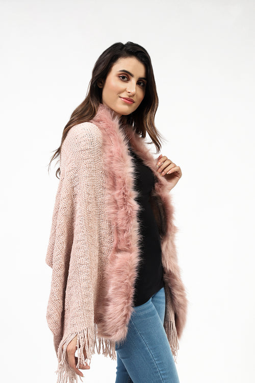 Shaded Cape Shawl With Fur