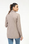 Light Brown Fine Gauge Sweater With Front Panel