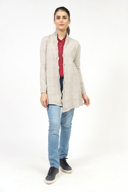 Light Grey Textured Front Open Sweater