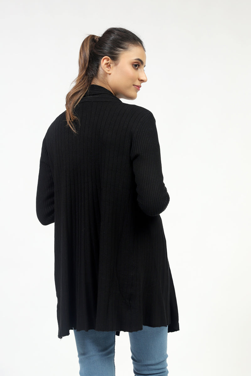 Black Front Opened Sweater With Ribbed Panel